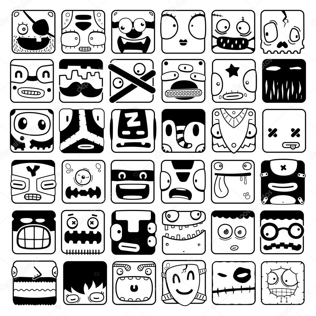 Big set of cartoon box face silhouettes for use in design, etc. — Stock Vector #12114782