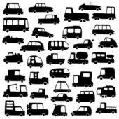 Set of cartoon cars silhouettes — Stock Vector
