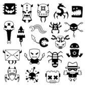 Set of cartoon computer viruses silhouettes — Stock Vector