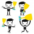 Funny cartoon helper man — Stock Vector