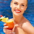 Beautiful woman with tropical cocktail — Stock Photo