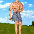 Fullbody of male working with dumbbels — Foto Stock