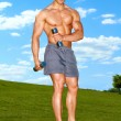 Fullbody of male working with dumbbels — Stock Photo #10905006
