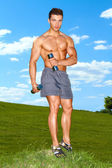 Fullbody of male working with dumbbels — Stock Photo
