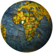 Nigeria flag on globe map - Stock Photo