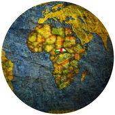 Flaga republiki afryki środkowej na mapie świata — Zdjęcie stockowe