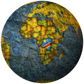 Democratic republic of congo flag on globe map — Stock Photo
