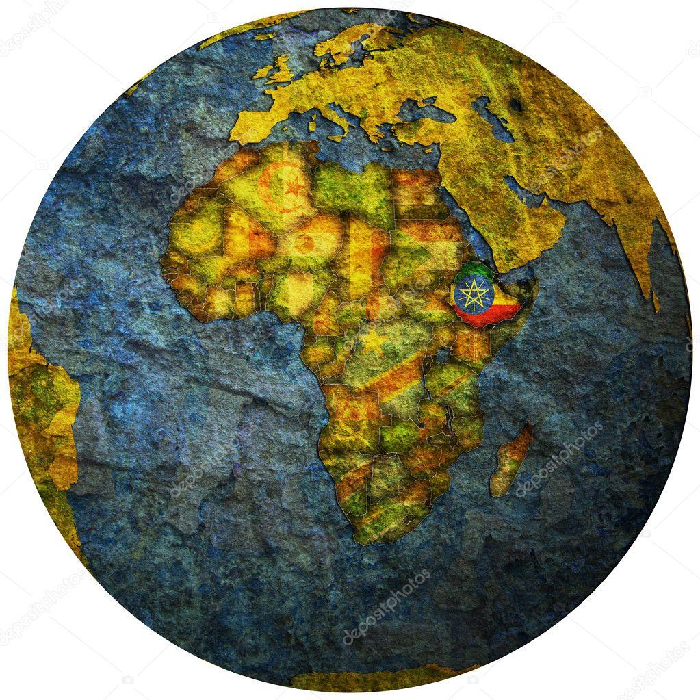 埃塞俄比亚领土与地球的地图上的标志– 图库图片