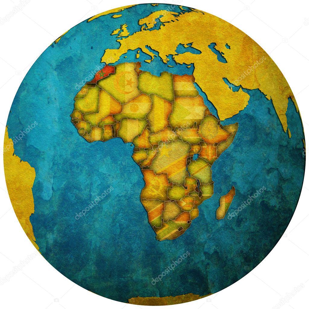 摩洛哥国旗在世界地图上