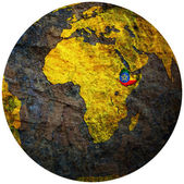 Ethiopia flag on globe map — Stock Photo