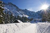 Panoramic Polish Tatras in winter scenery — Stock Photo