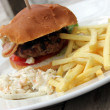 Stock Photo: Burger, Chips and Coleslaw