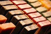 Rows of handmade soap — Stock Photo