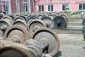Kola železničních vagónů — Stock fotografie