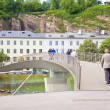 Stock Photo: Bridge across river Salzach