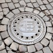 Hatch of the Prague sewage system — Stock Photo