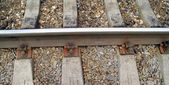 Railway, rails and railroad ties — Fotografia Stock