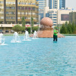 Astana. Cleaning of fountain — Foto de Stock