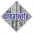 Mots de concept de créativité dans le nuage de Tags — Photo