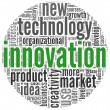 Mots de concept de l'innovation dans le nuage de Tags — Photo