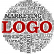 Logo related words in tag cloud — ストック写真