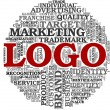 Stockfoto: Logo related words in tag cloud
