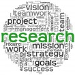 Research concept in word tag cloud — Stock Photo #10742206