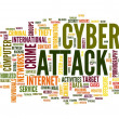 Stock Photo: Cyber attack in word tag cloud