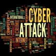 Cyber attack in word tag cloud — Stock Photo