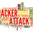 Stock Photo: Hacker attack in word tag cloud