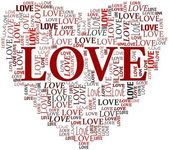 Valentines and love concept in tag cloud — Stock Photo