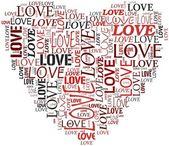 San valentino e il concetto di amore in una nuvola di tag — Foto Stock