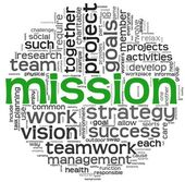 Mission concept in word tag cloud — Stock Photo