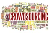 Crowdsourcing concept in word tag cloud — Stock Photo