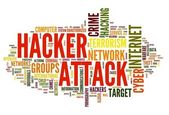 Hacker attack in word tag cloud — Stock Photo