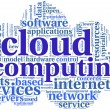 Cloud computing in word tag cloud — Stock Photo
