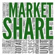 Market share concept in tag cloud — Stock Photo