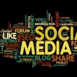Stock Photo: Social media in tag cloud
