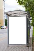 Blank billboard on bus stop — Stock Photo