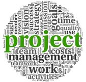 Project and management in tag cloud — Stock Photo
