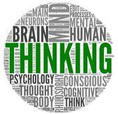 Thinking concept in word tag cloud — Stock Photo