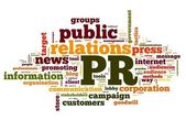 Public relations concept in tag cloud — 图库照片