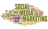 Social media marketing in tag cloud — Stock Photo