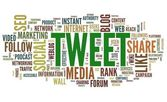 Tweet word in tag cloud on white — Stock Photo