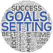 Goals setting concept in tag cloud - Stok fotoğraf