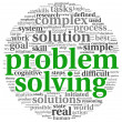 Problem solving in word tag cloud on white - Foto Stock