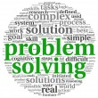 Problem solving in word tag cloud on white — Stockfoto