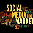 Stock Photo: Social media marketing in tag cloud