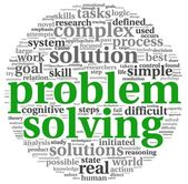 Problem solving in word tag cloud on white — 图库照片