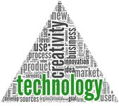 Technology and creativity concept in tag cloud — Stock Photo